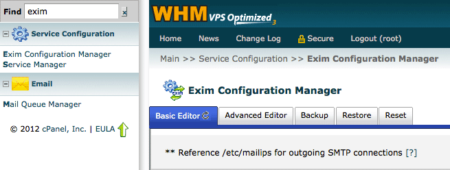 Exim configuration menu in WHM